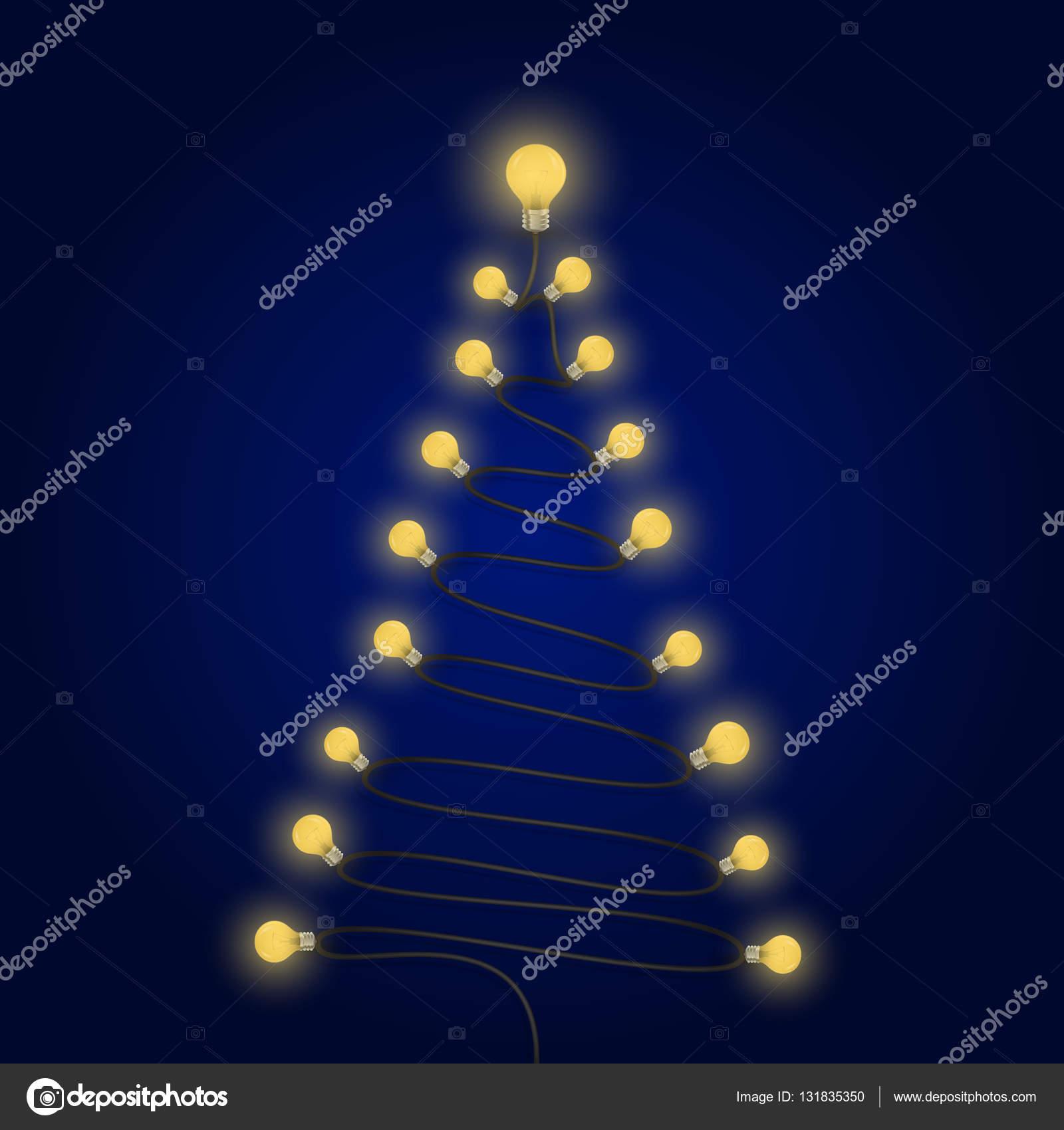 46a917460fb Bombillas de colores y símbolo del árbol de Navidad. Feliz Navidad–  Ilustración de Stock