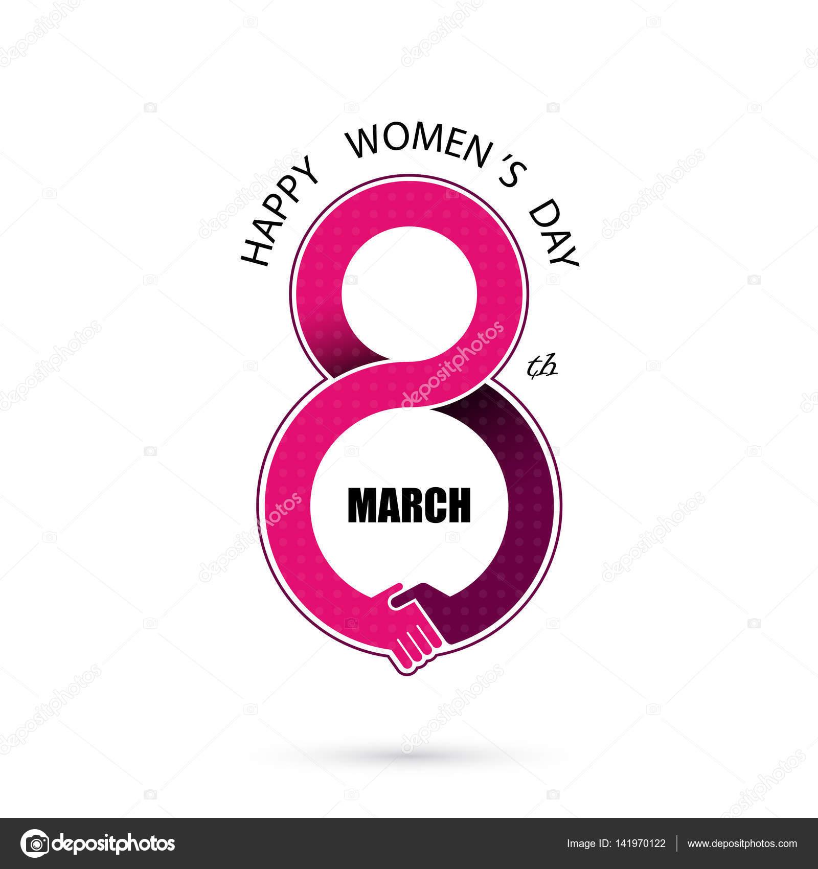 Creative 8 March Logo Vector Design With International Womens D