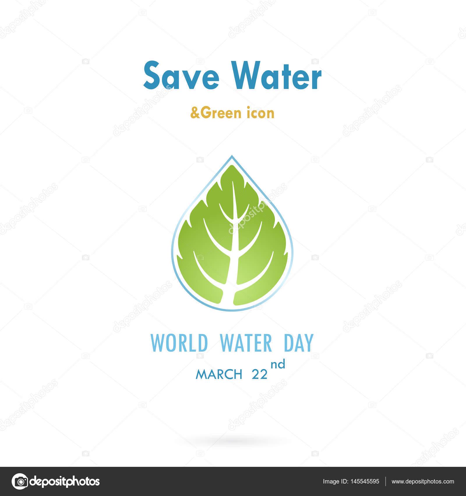 Gota de agua con plantilla de diseño de logotipo de hoja icono ...