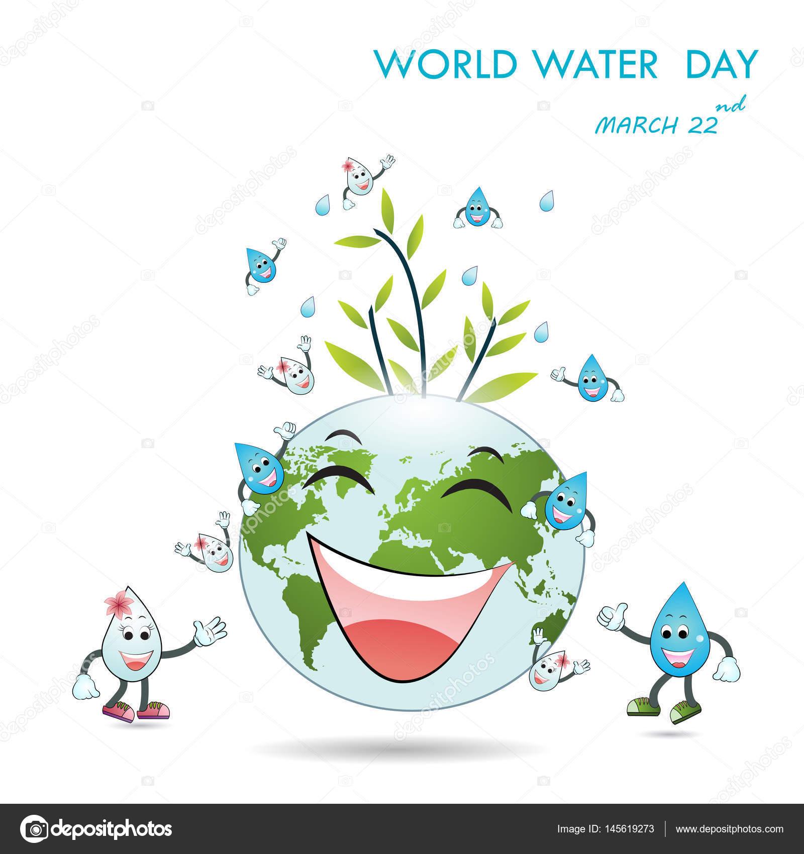 Diseño De La Historieta Ilustración De Mundo Agua Día Mascota De