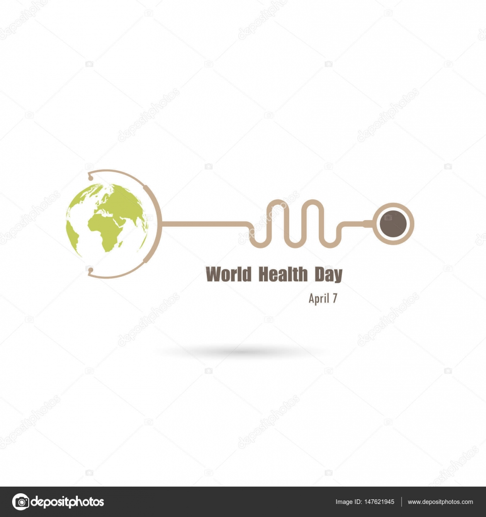 globe sign and stethoscope vector logo design template.world hea, Powerpoint templates