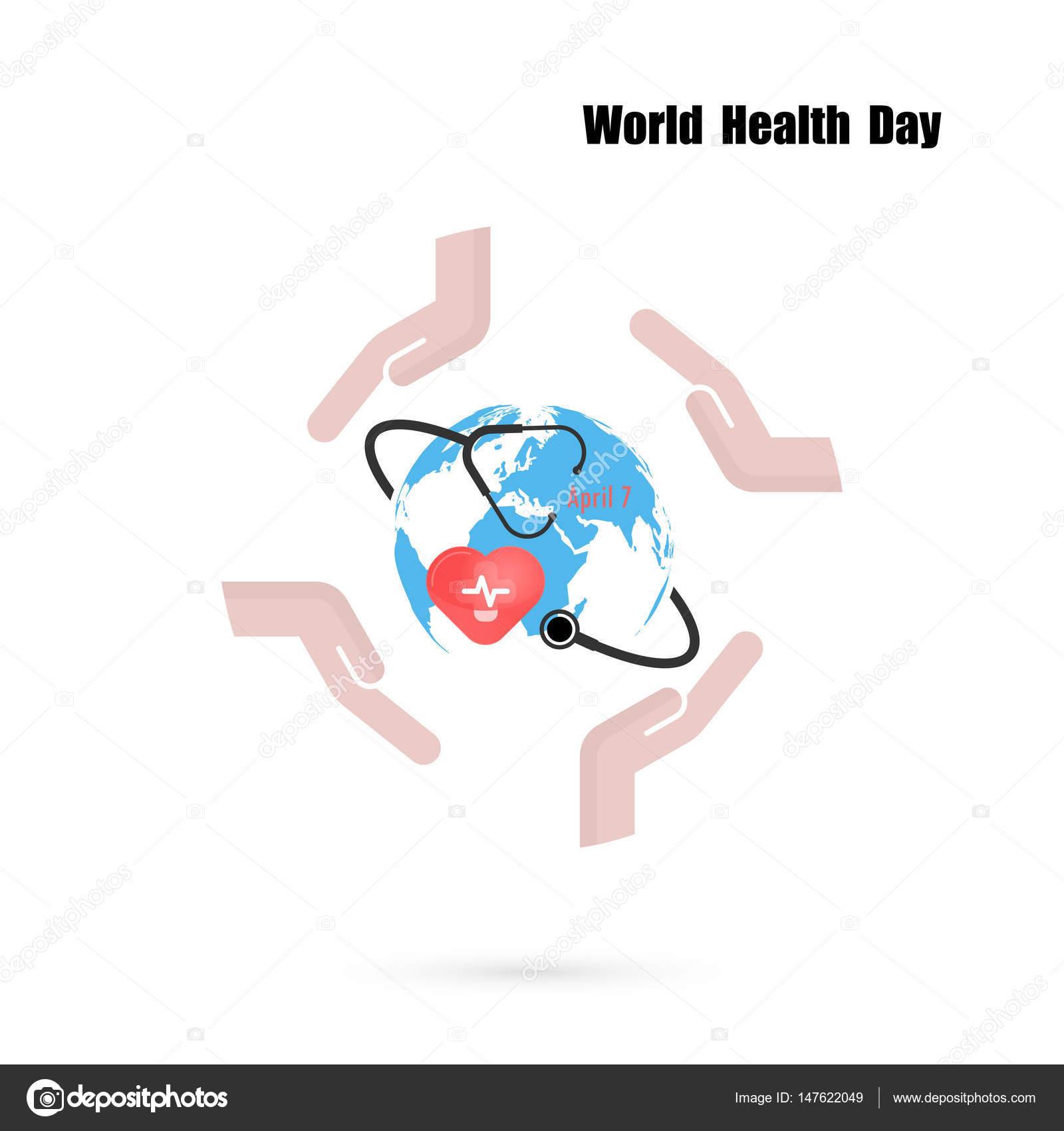 Signo del globo, icono de estetoscopio con plantilla de diseño de ...