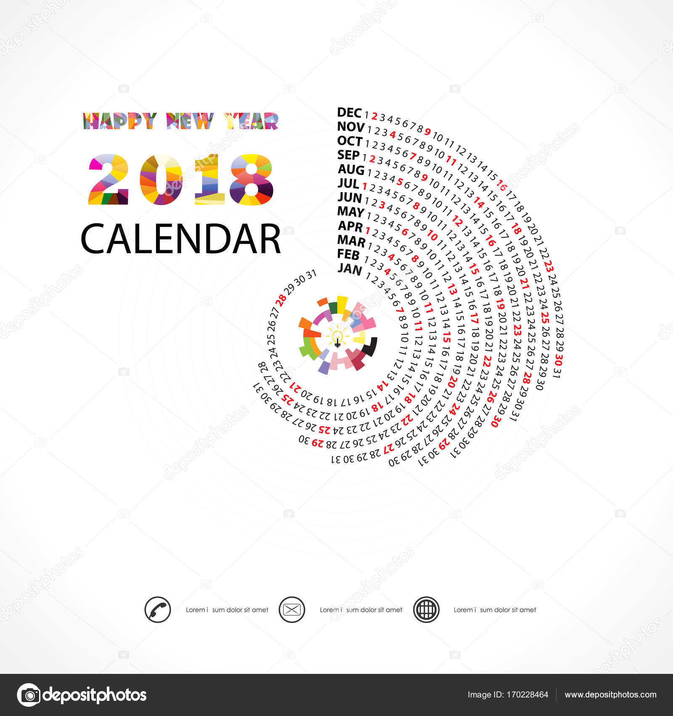 2018 カレンダー template spiral カレンダー 12 m のカレンダー 2018年