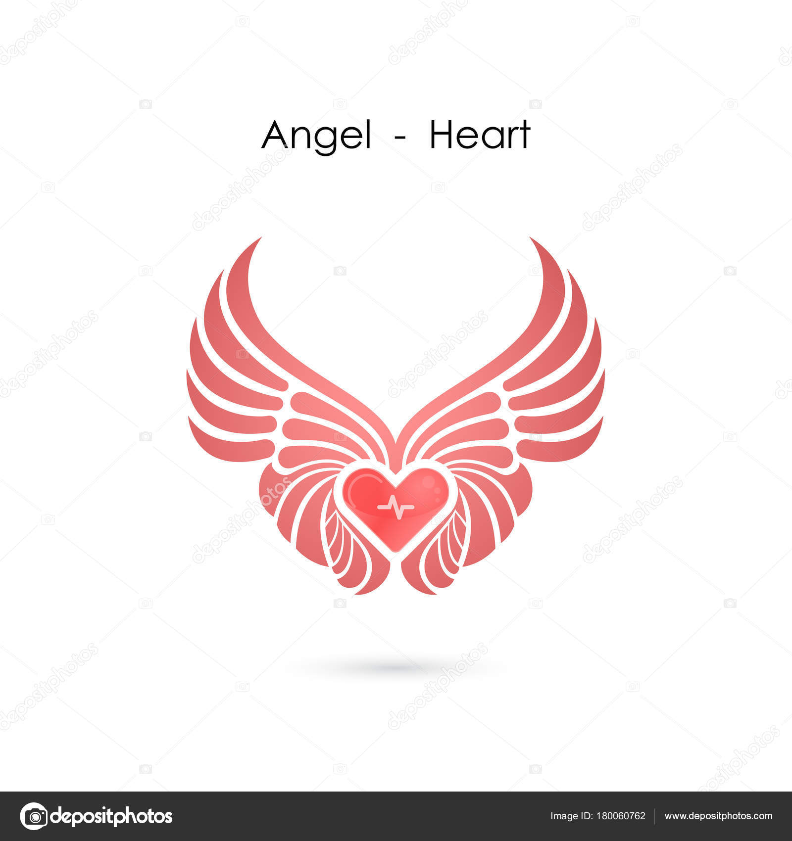 heart logo with angel wings logo design template love symbol val