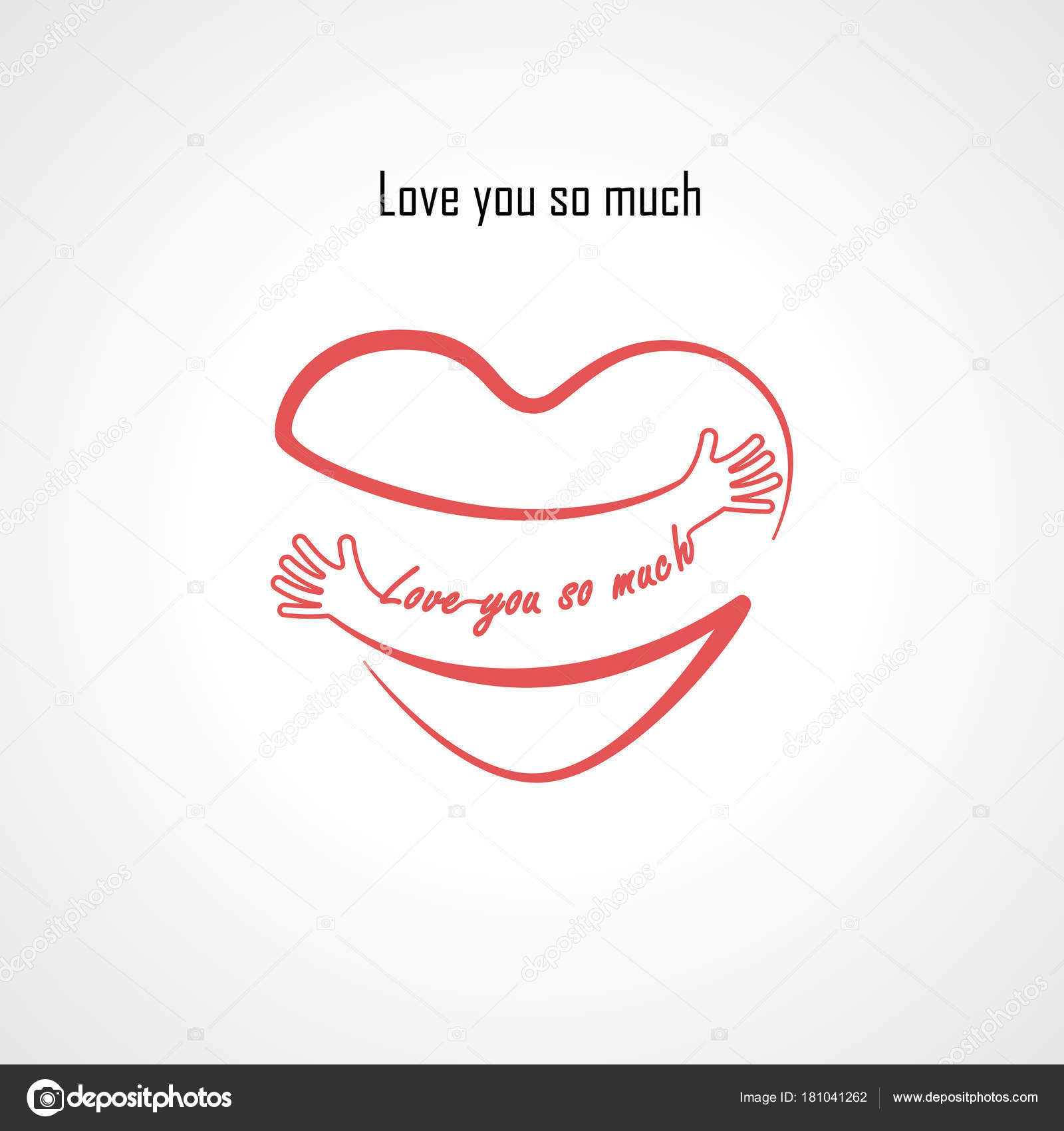 Love You So Much Typographical Design Elements And Red Heart S
