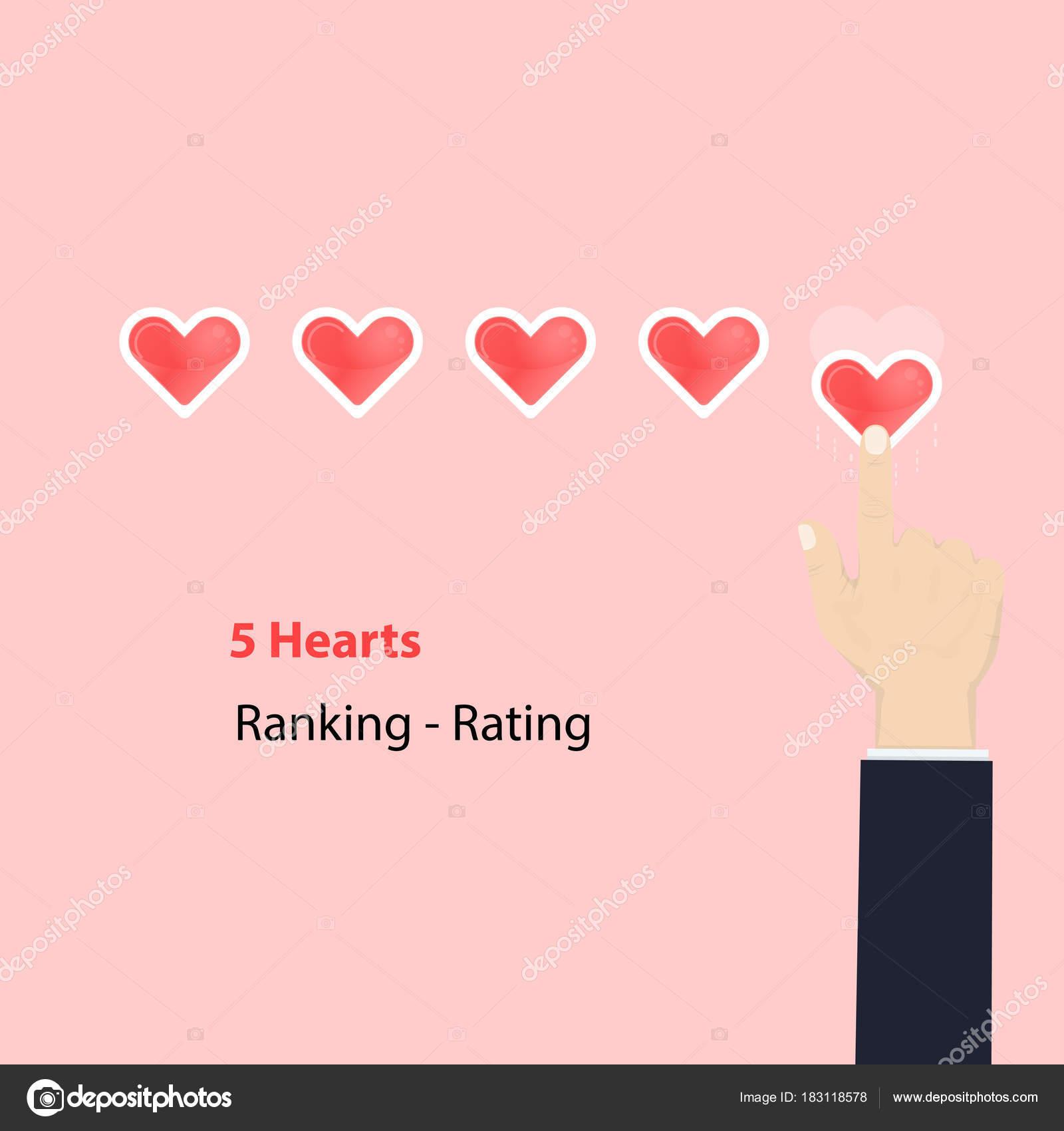 5 Herzen Bewertung oder Rechen Konzept. Bewertung oder Rechen rote ...