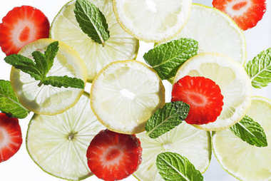 lime, lemon, strawberry and mint