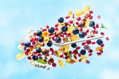 Flying perfect breakfast ingredients