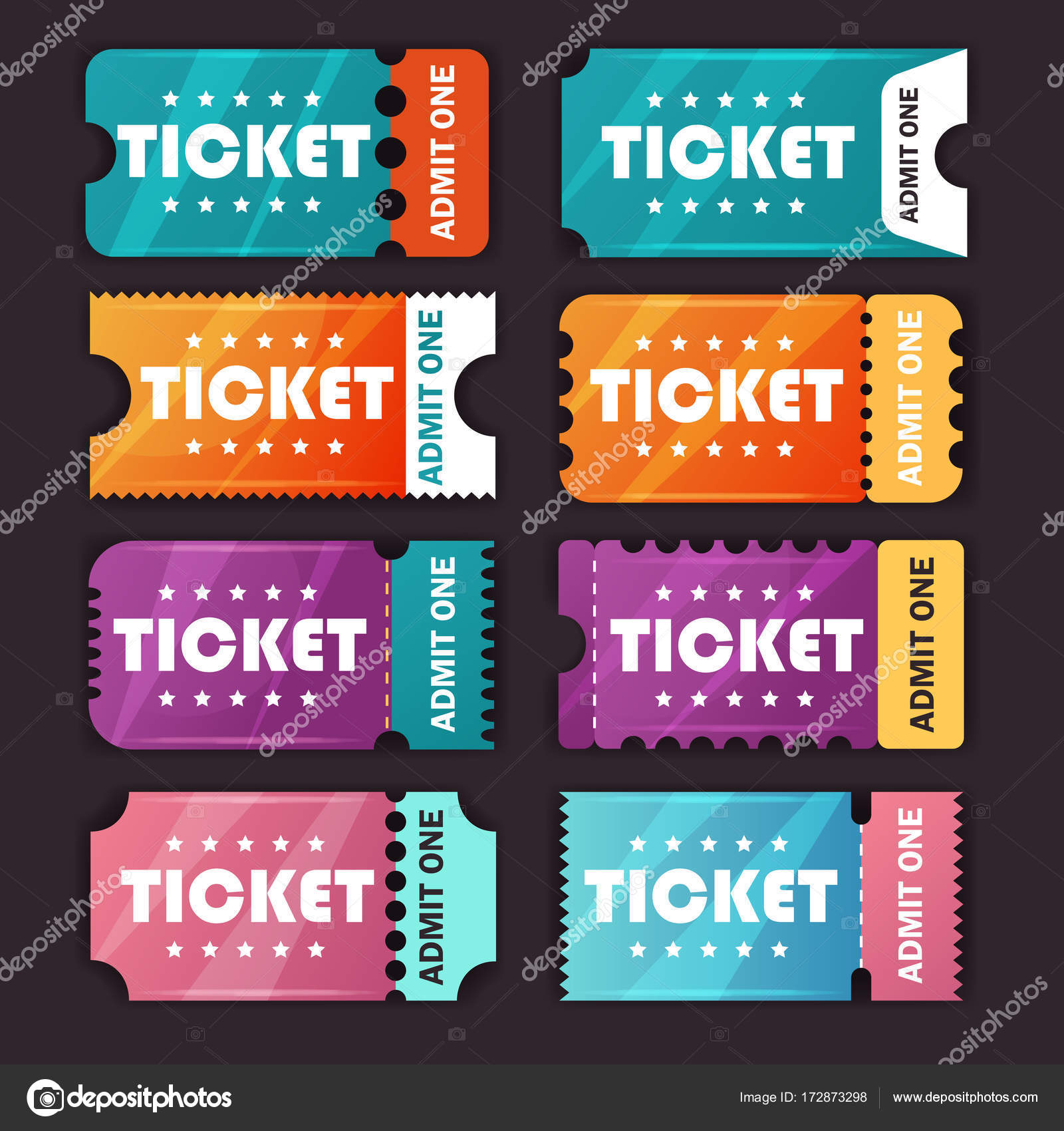 bus tickets flat design template vector by scorpion333