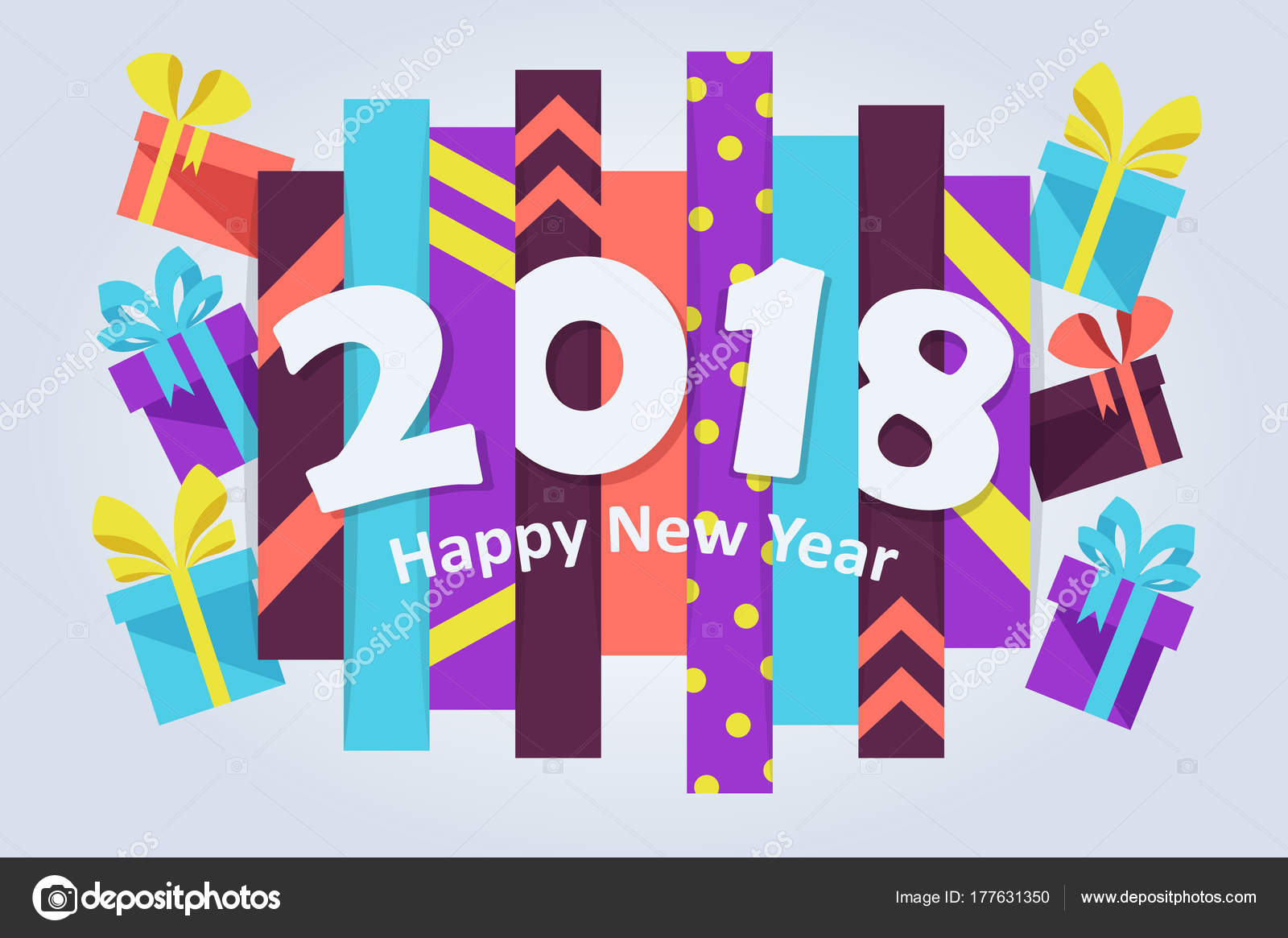 c9b7b3a18c2d4 2018 New Year Gifts Happy New Year Banner Vector Cartoon — Stock Vector