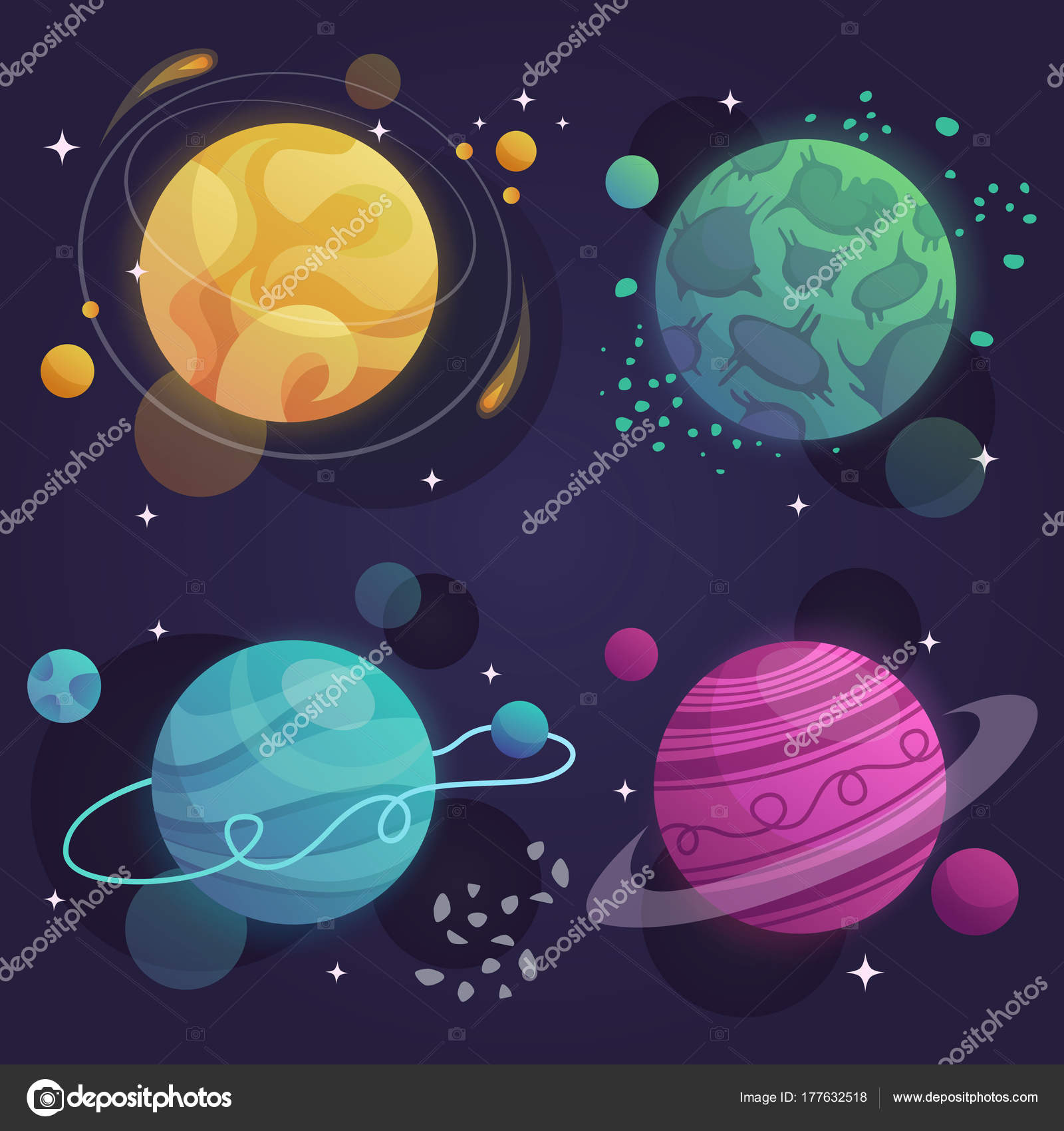 Sada Kresleny Planet Vesmiru Vektor Ilustrace Stock Vektor