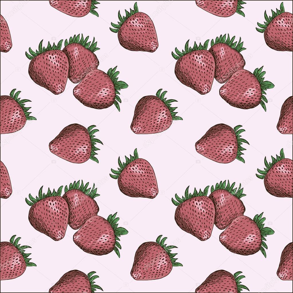 Strawberry seamless pattern drawing