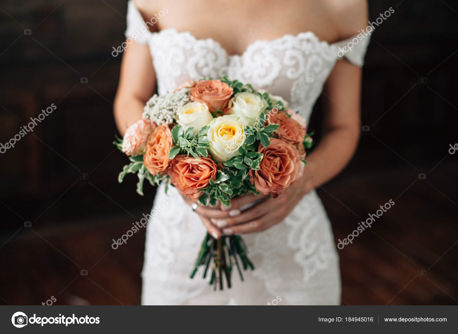 Wedding Bouquet In Bride Hand Bride In Sexy Wtite Dress With R