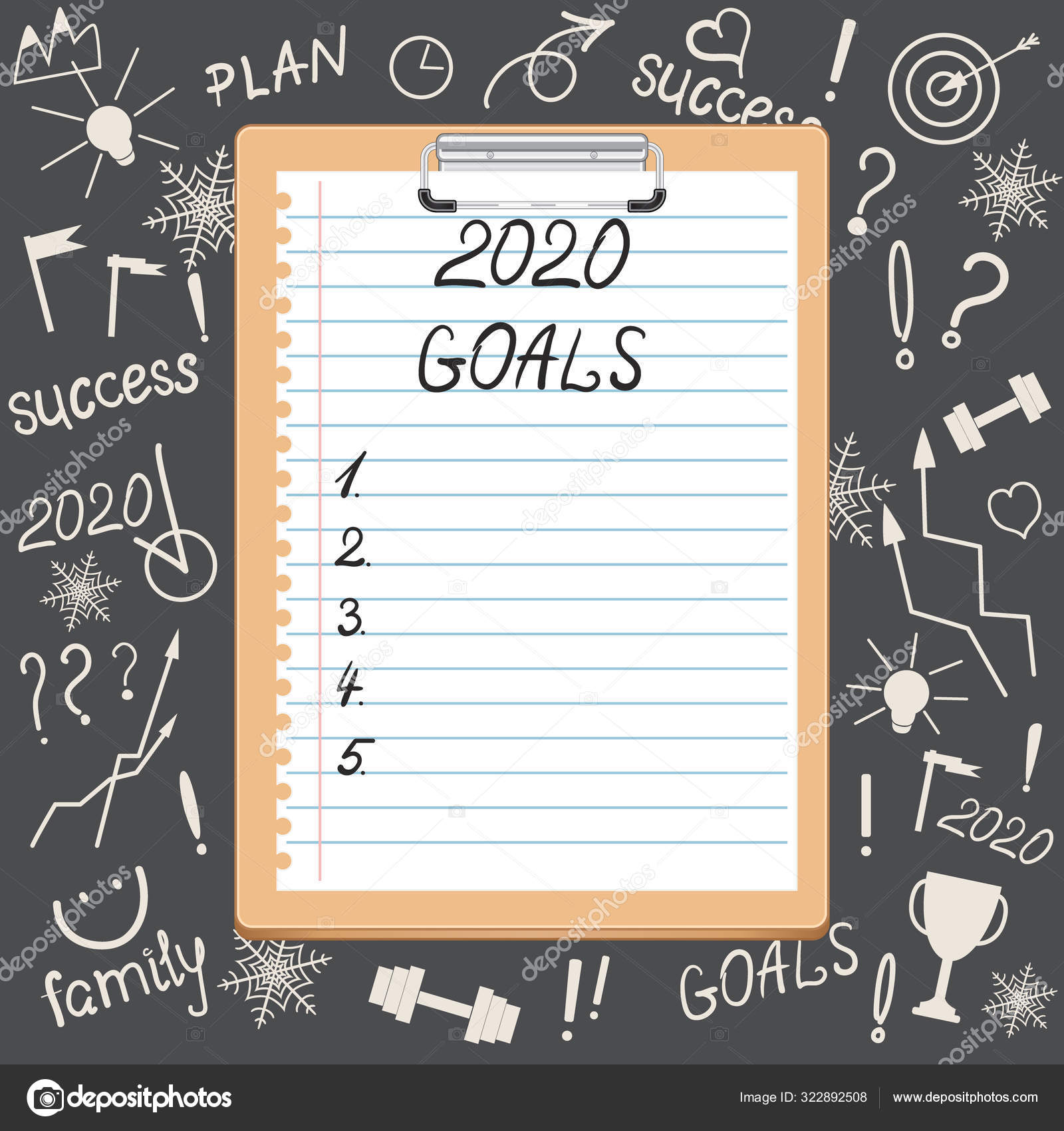 The Concept Of Goals. Clipboard With The Inscription GOALS