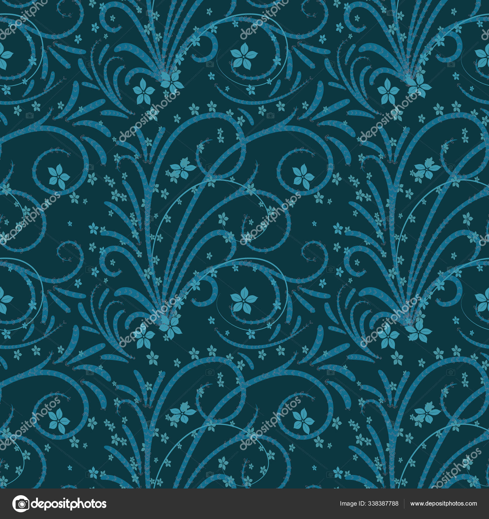 Seamless Pattern With Floral Ornament Twigs And Flowers Of Blue