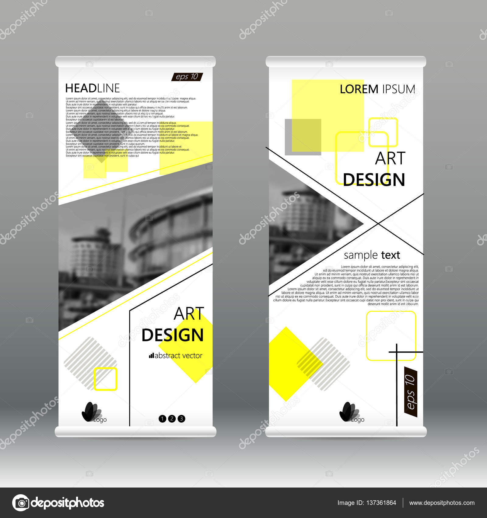 yellow triangle abstract business roll up banner flat design