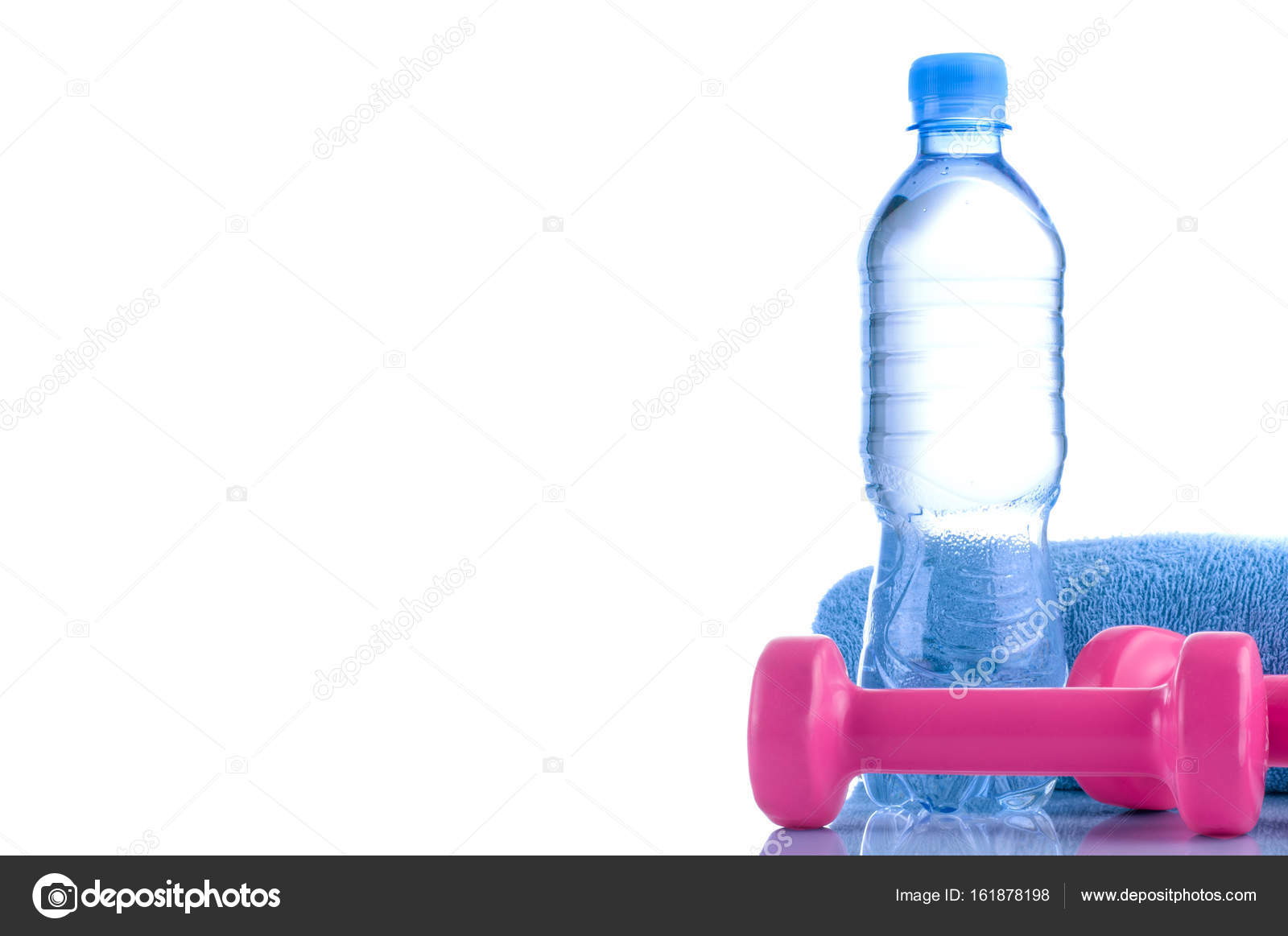 Fitnes Symbols Pink Dumbbells A Bottle Of Water And A Towel The
