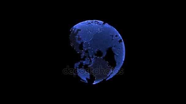 Země. Planetě tok dokumentů opakování. Rotující koule, zářící kontinentů s zvýraznění obrysů. Abstraktní počítačové animace s hloubkou ostrosti a záře