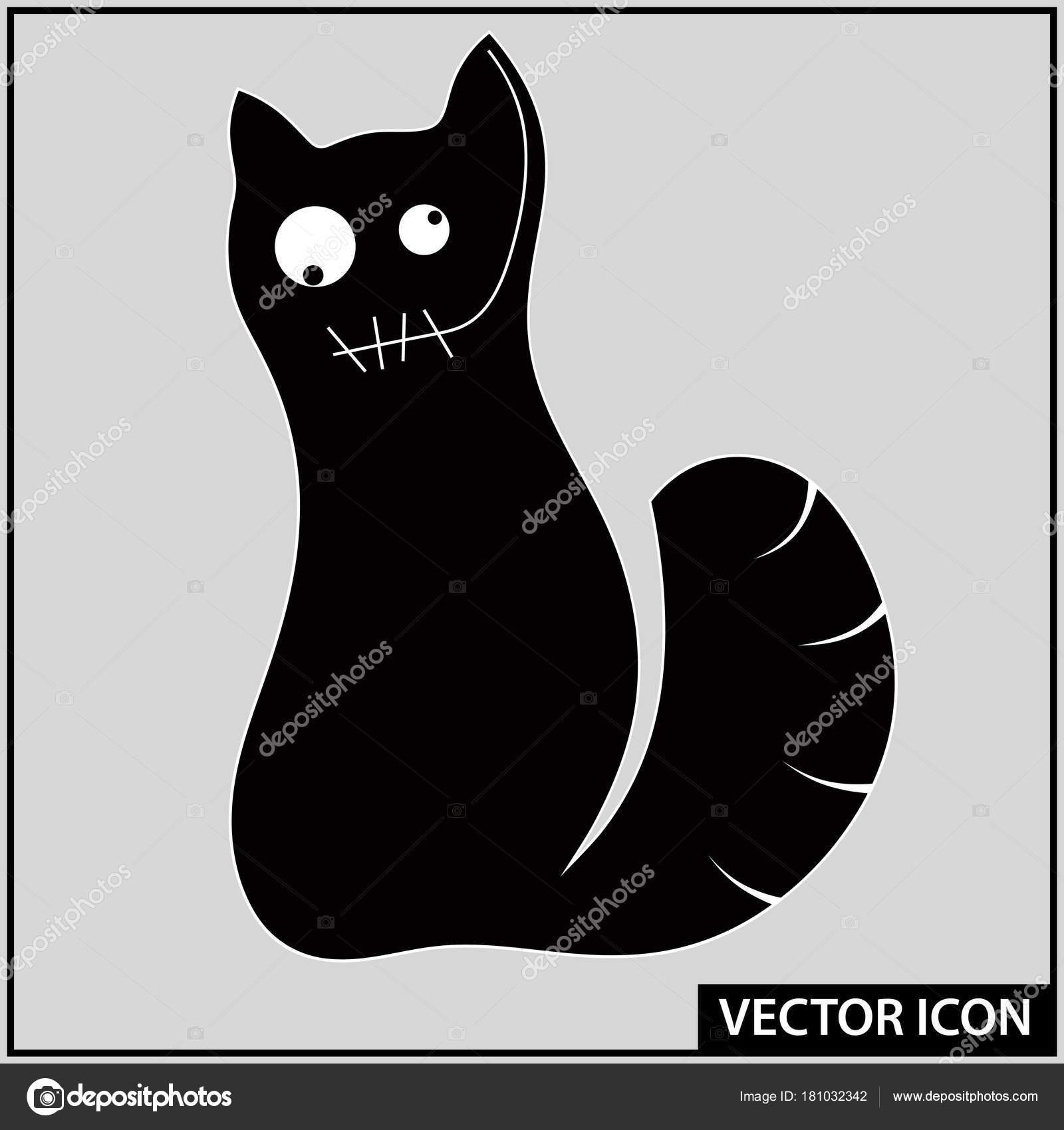 Vector Icon Silhouette Cat Graphic Symbol Stock Vector