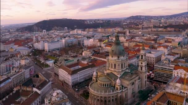 Európa Magyarorszag Budapest aerial sunset cityscape Szent István bazilika Budapest eye danube river downtown. felvétel. Légi felvétel