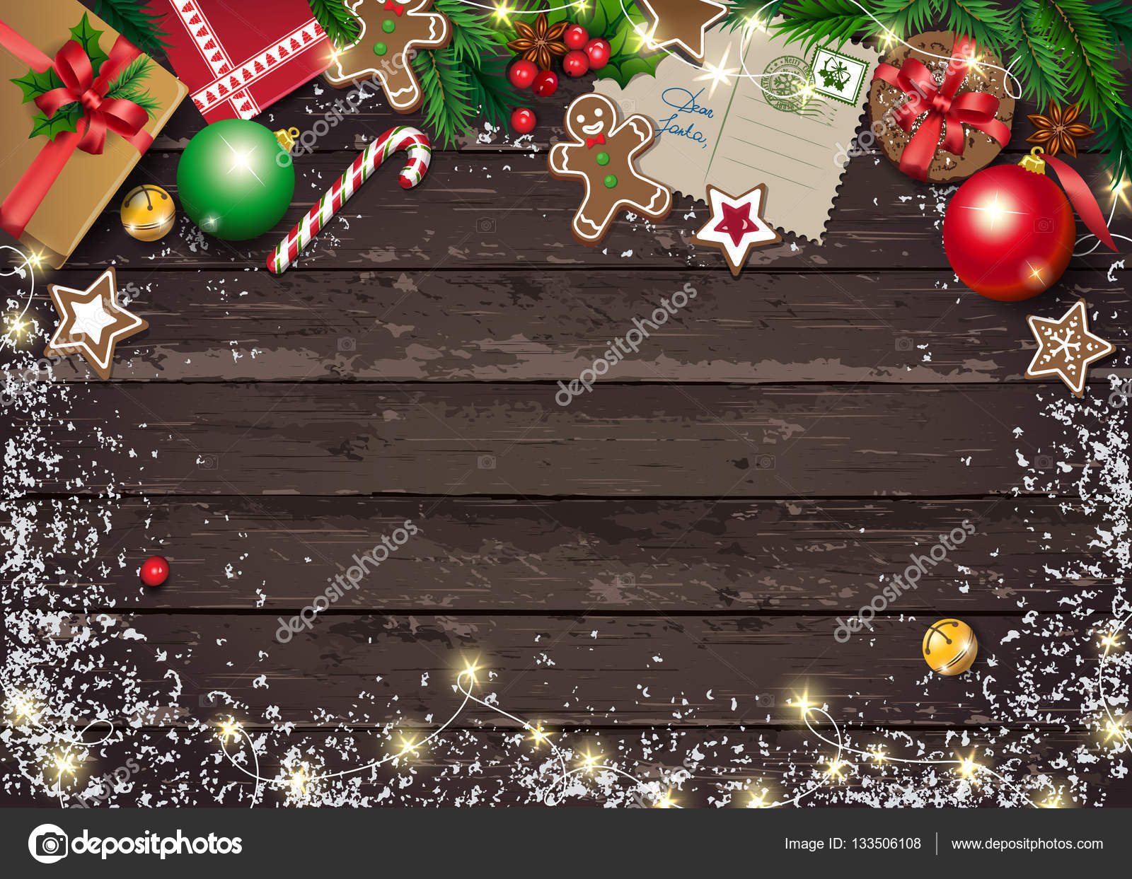 Christmas Greeting Card With Letter To Santa And Presents Cookies