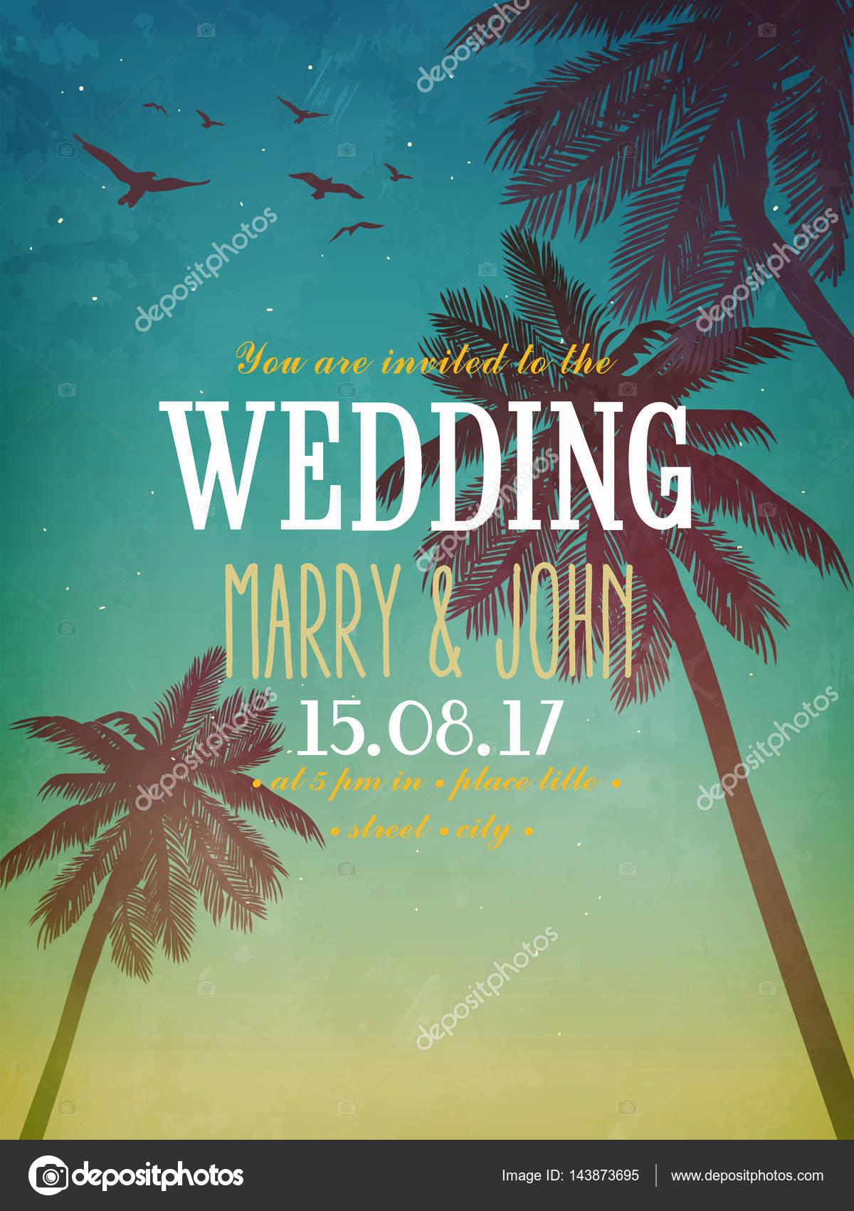 Sommer Strand Abbildung. Inspiration Karte Für Datum, Geburtstag, Hochzeit,  Party Einladung U2014 Vektor Von MaryRo