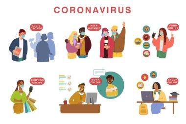 Novel coronavirus (2019-nCoV), people in white medical face mask. Concept of coronavirus quarantine vector illustration.
