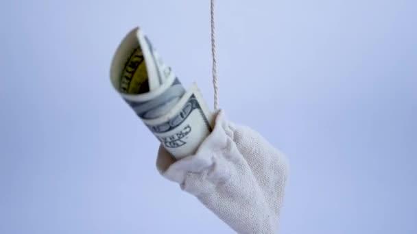 Peněžní taška s dolary uvnitř otočit na bílém pozadí, úspory a investice