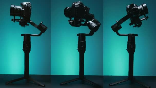 Stabilizer or Gimbal with a mounted camera, making recording movements with colored background