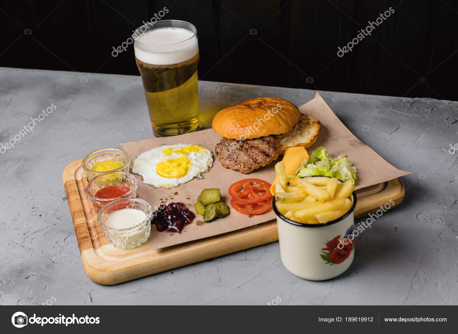 Beer french fries adorn burger yourself concrete background stock beer and french fries adorn burger do it yourself on a concrete background photo by kiforpic solutioingenieria Images