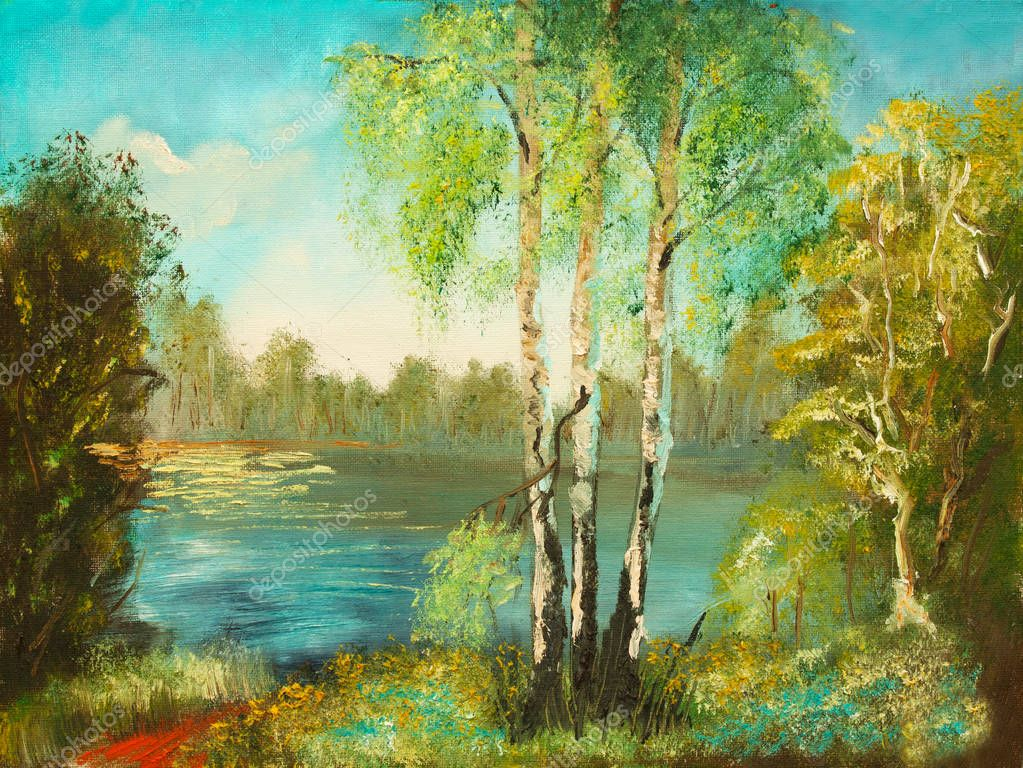 lake and three birches oil painting
