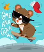Photo Funny Cartoon Skater Bear Adventures