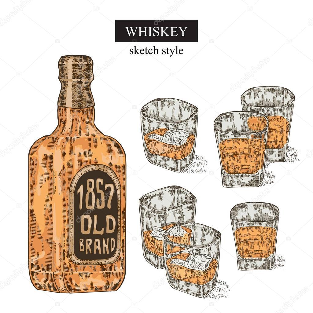 Whisky trinken eingestellt. Von Hand gezeichnete Flasche und Glas ...