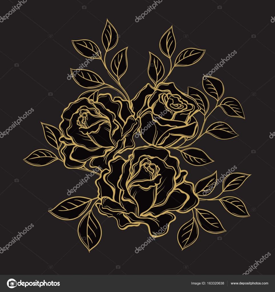 Rosa Doro Fiori E Foglie Su Sfondo Nero Disegnato A Mano V