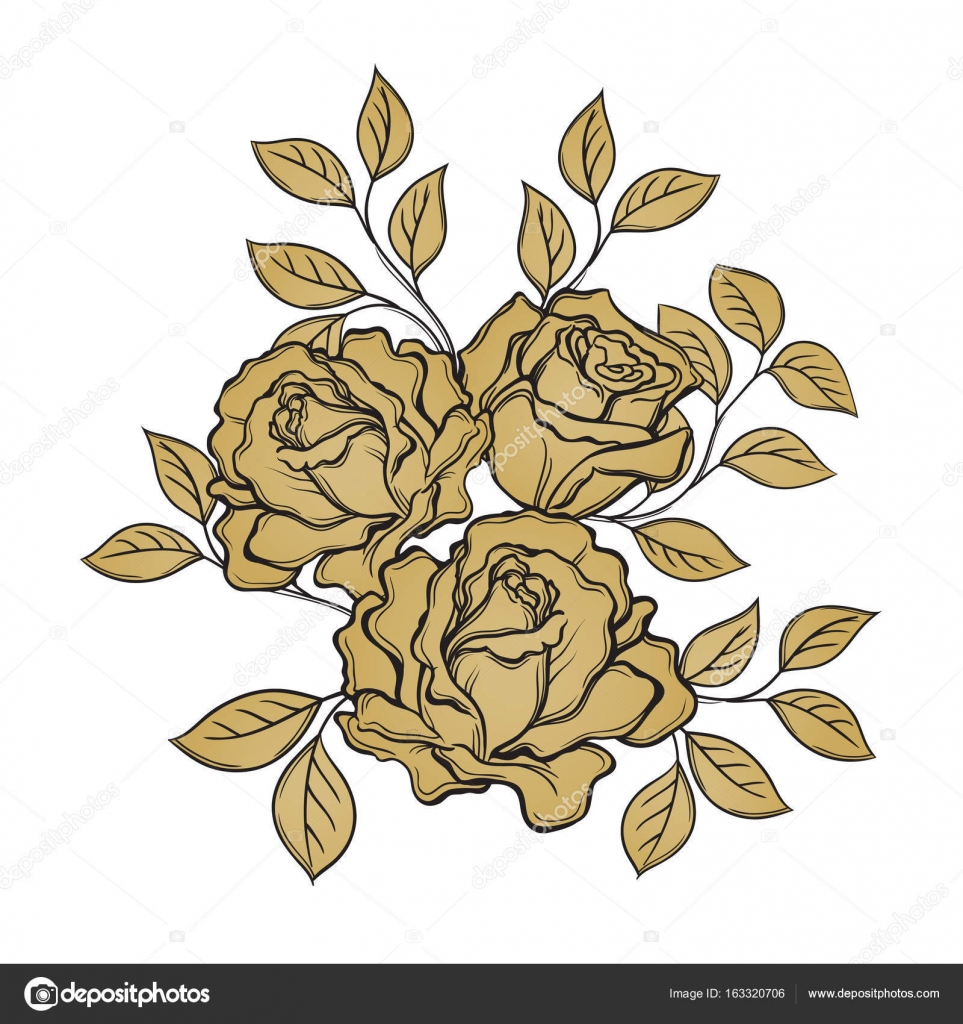 Golden Rose Flowers And Leaves On White Background Hand Drawn V Stock Vector