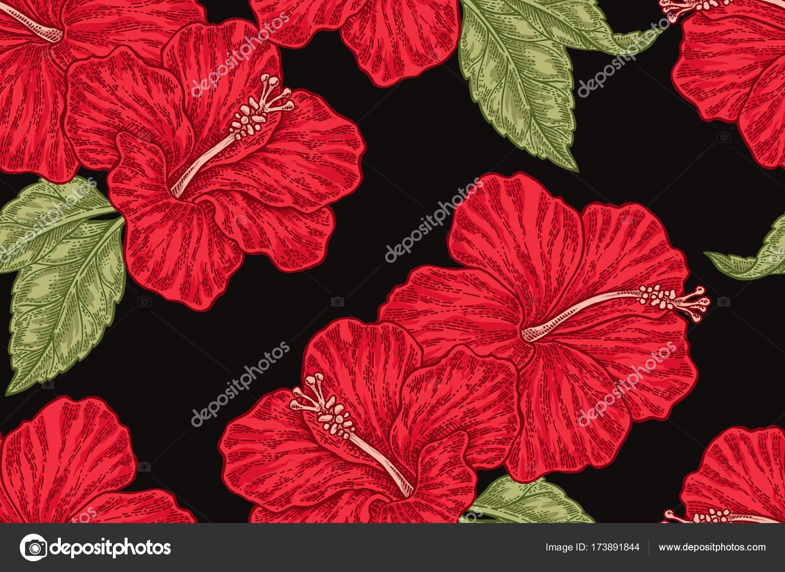Red hibiscus flowers on black background hand drawn seamless red hibiscus flowers on black background hand drawn seamless pattern vector illustration for fabrics izmirmasajfo