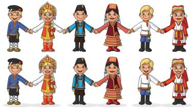Illustration on white background children in national costumes holding hands. Girl with boy couple stock vector