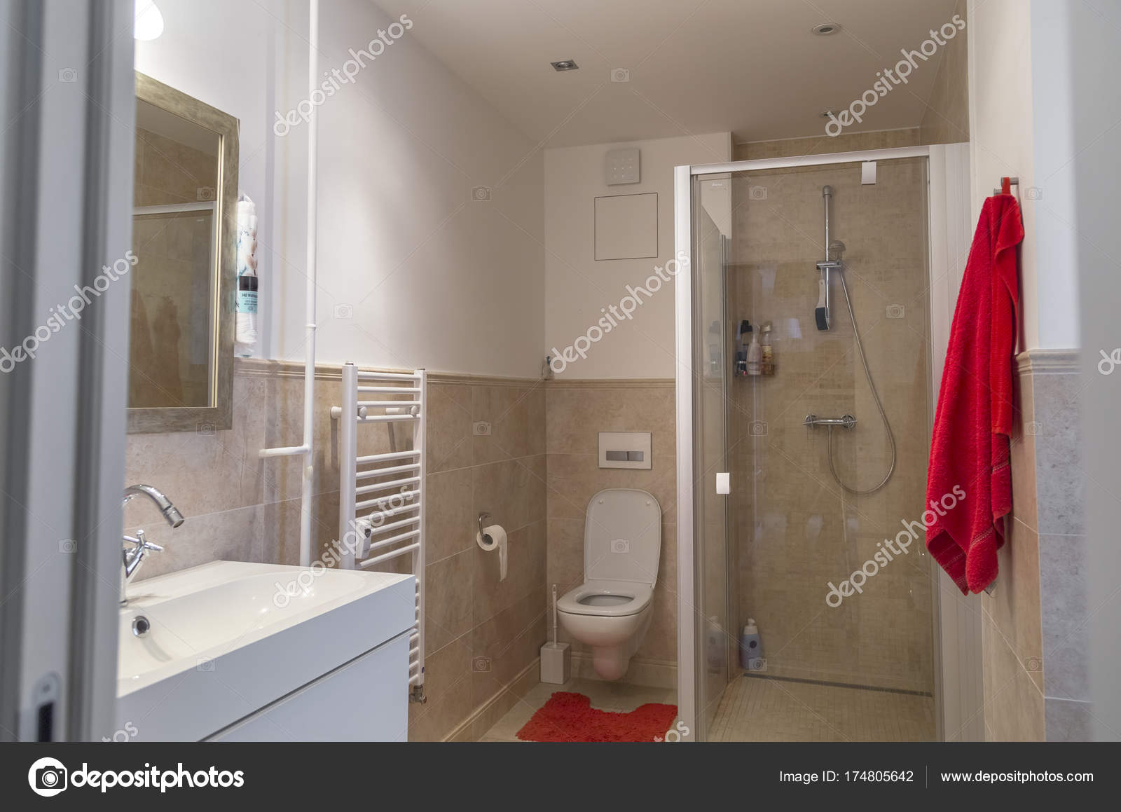 Nice Bathroom In A Two Room Apartment Stock Photo C Ondrooo 174805642 - Nice-apartment-bathrooms