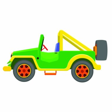 Vehicle Jeep Side - Cartoon Vector Image