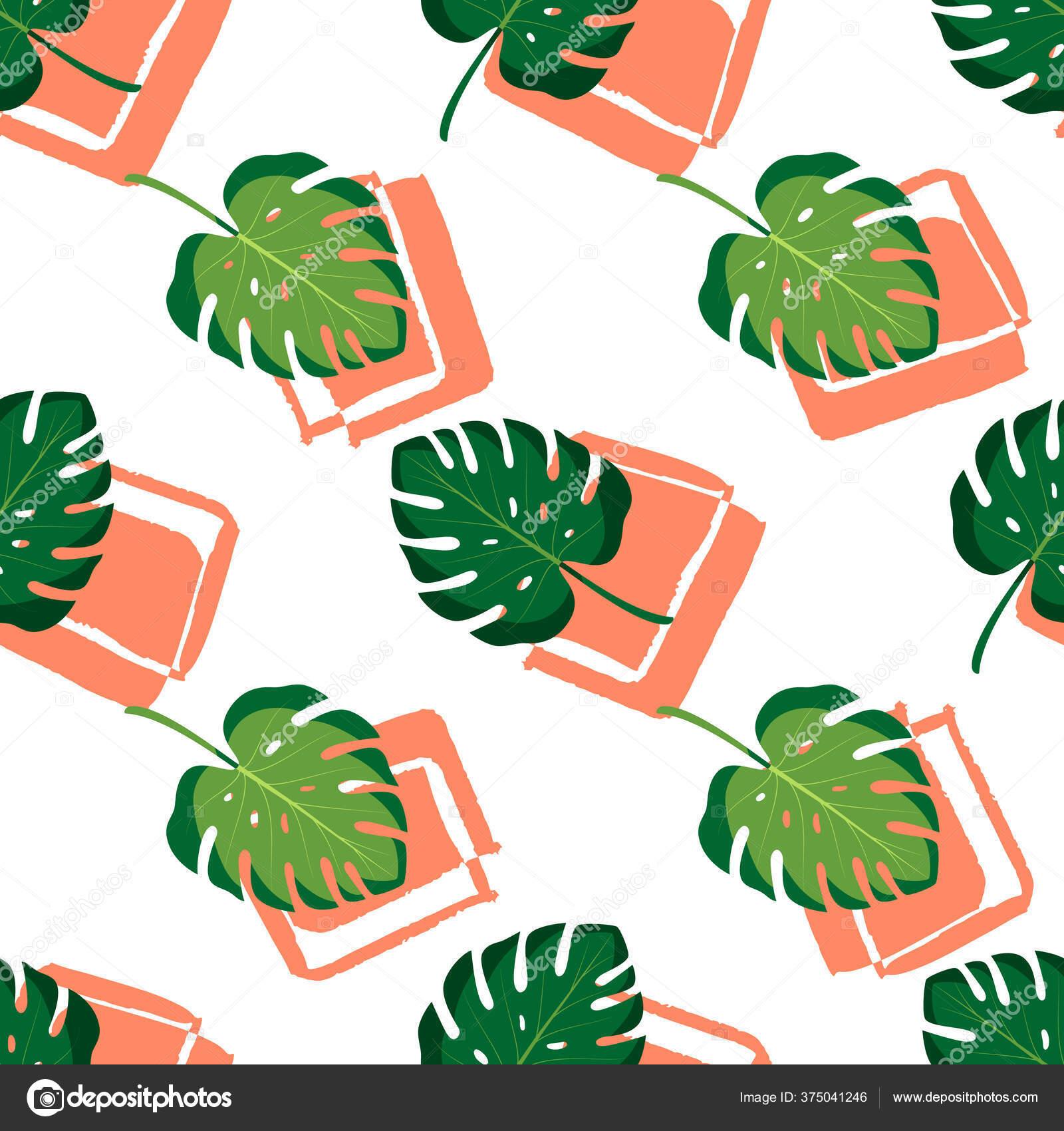 depositphotos 375041246 stock illustration tropical seamless pattern monstera leaves
