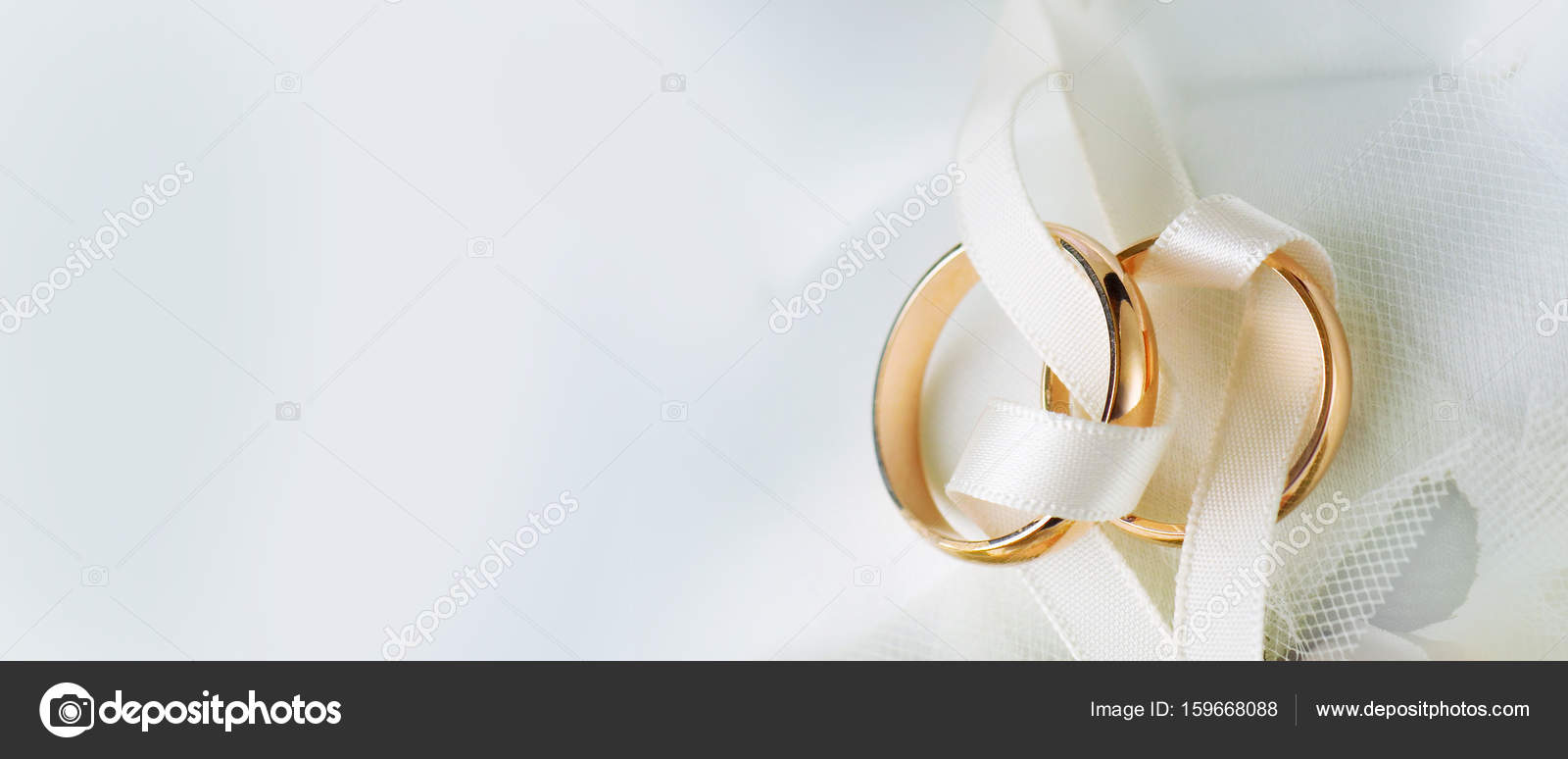 Gold Wedding Rings White Background Copy Space Stock Photo