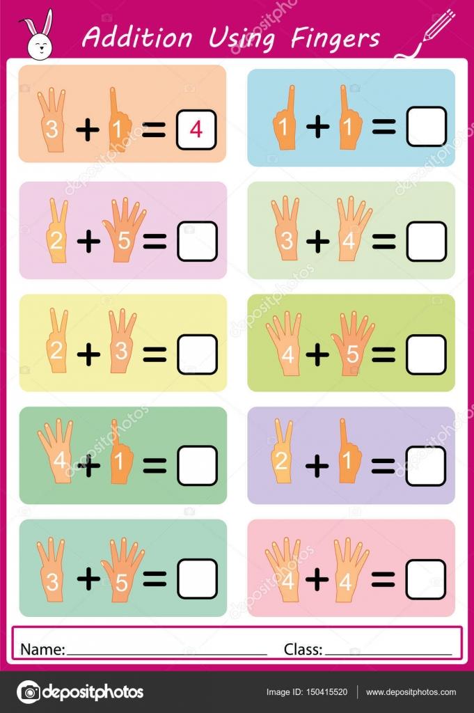 Addition mit Fingern, Mathe Arbeitsblatt für Kinder — Stockvektor ...