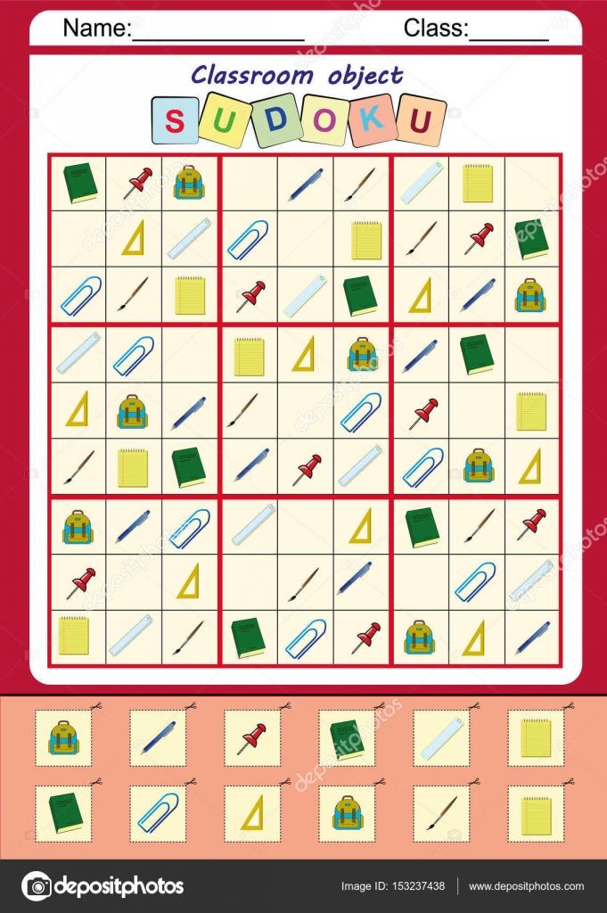 Lustiges Bild-Sudoku für Kinder, farbenfrohe Arbeitsblatt ...