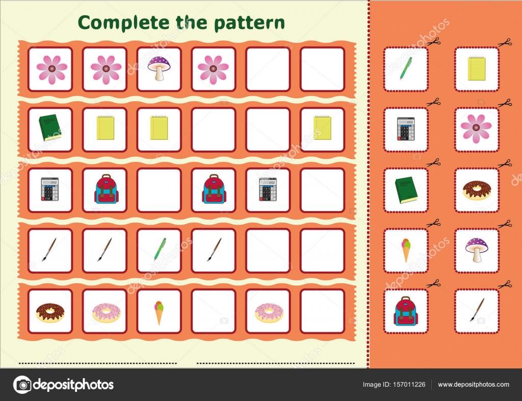 Füllen Sie das Muster, Arbeitsblatt für Kinder — Stockvektor ...