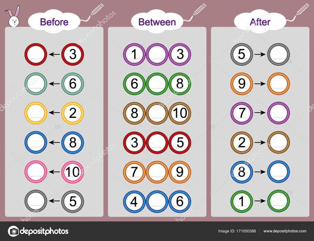 Lo que viene antes-entre y después, las hojas de trabajo matemáticas ...