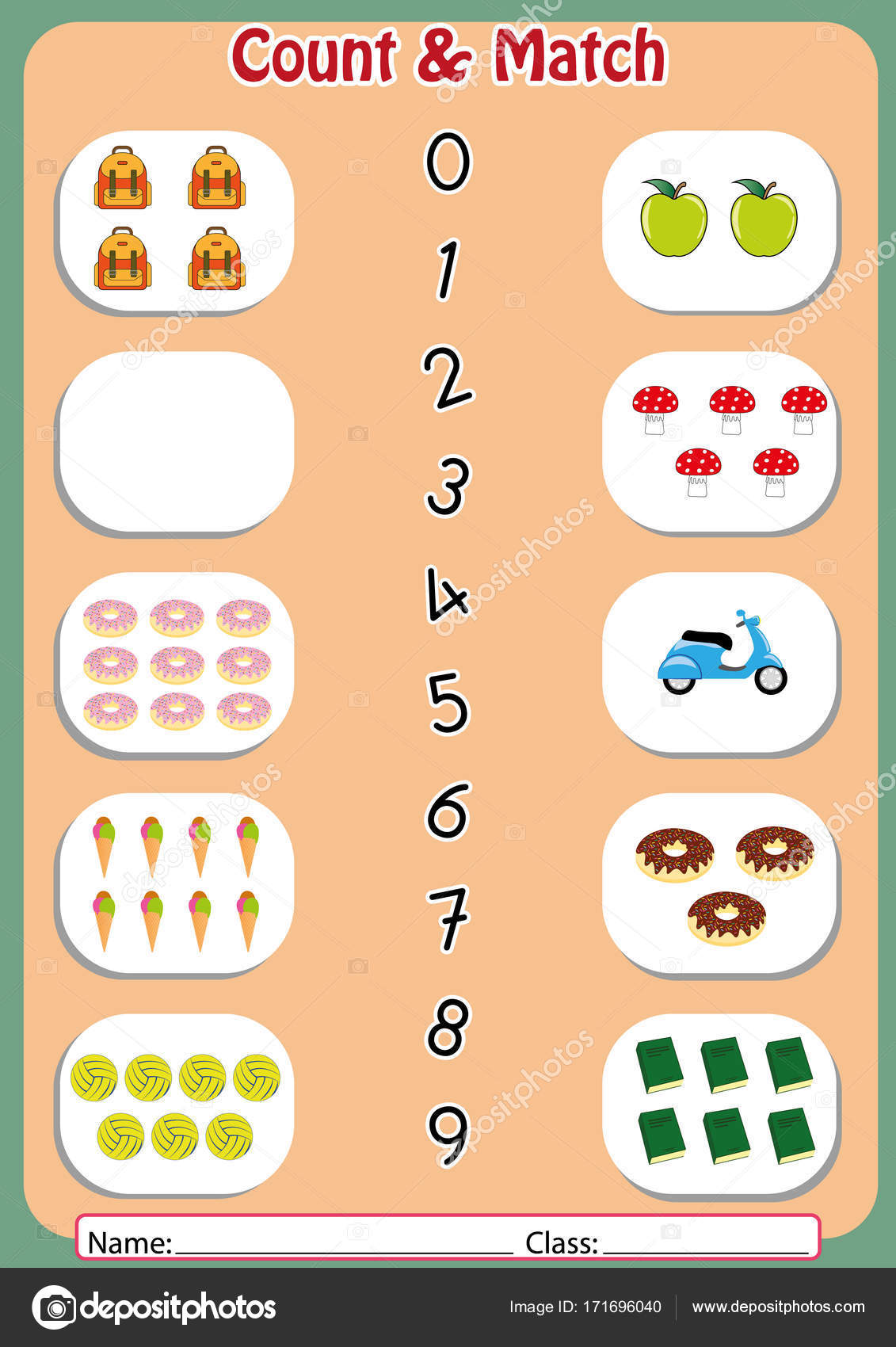 match the numbers to the objects, worksheet for preschool — Stock ...