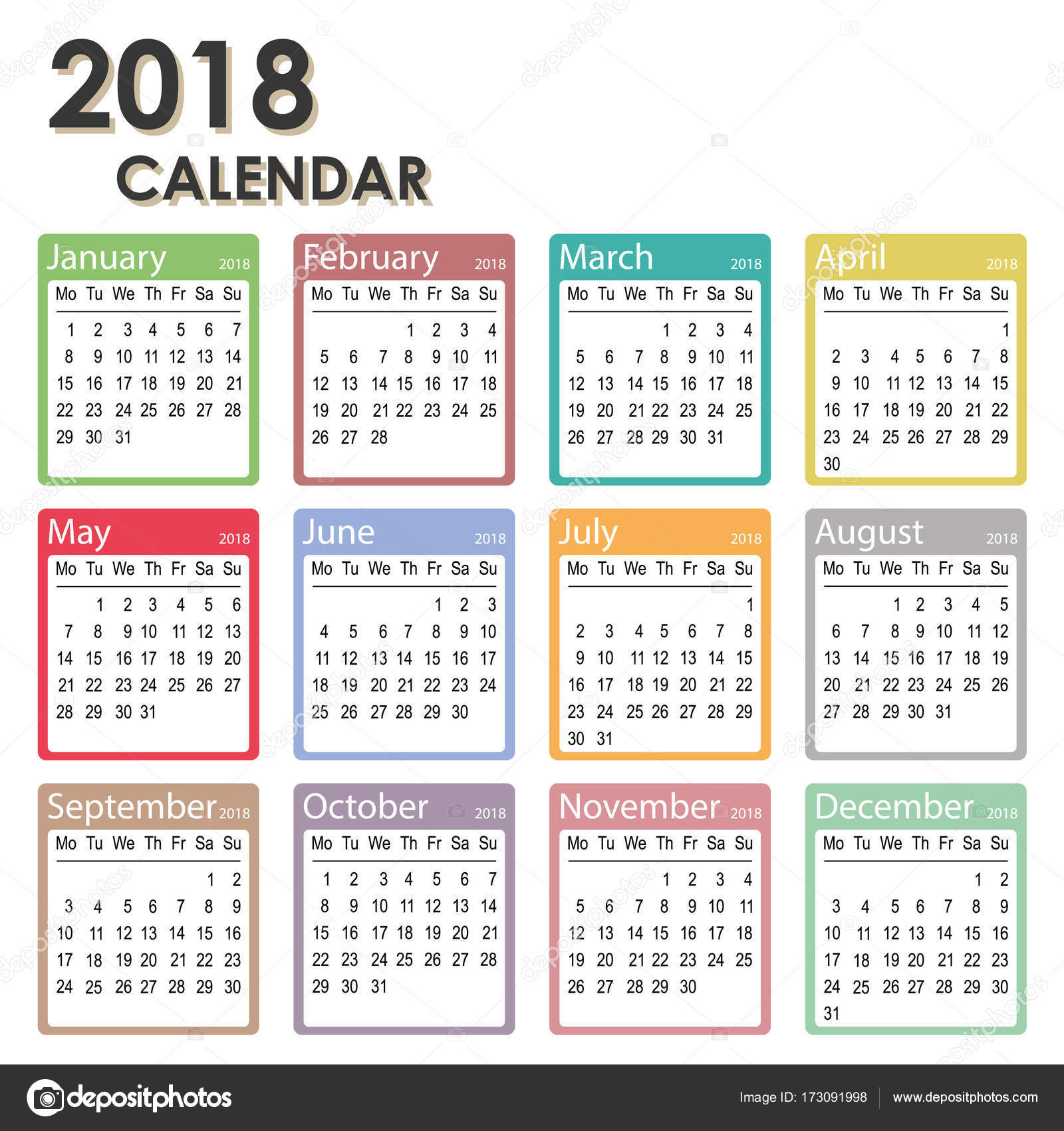 éves naptár sablon 2018 éves naptár, hét kezdőnapja a hétfő, havi naptár sablon, 2018  éves naptár sablon