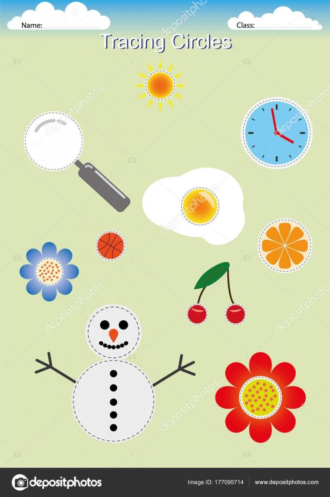Ablaufverfolgung Kreise, Zeichnen von Kreisen, Vorschule ...