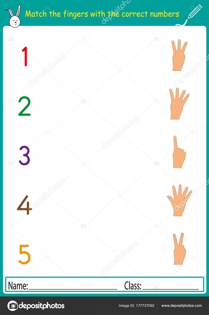 entsprechen Sie die Finger mit den korrekten Zahlen, Mathe ...