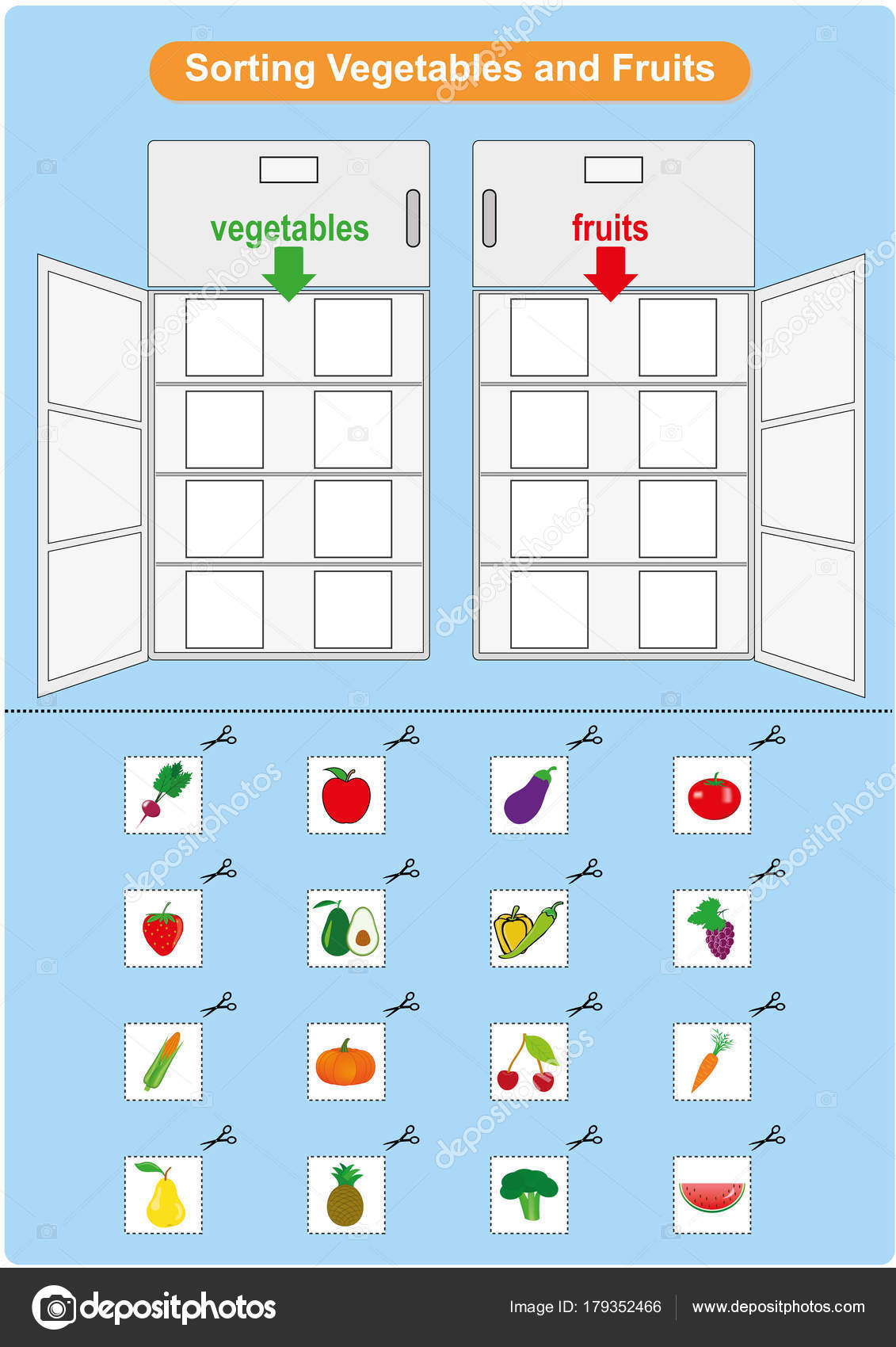 Meyve Ve Sebze Buzdolabı Anaokulu Için çalışma Sayfası Sıralama